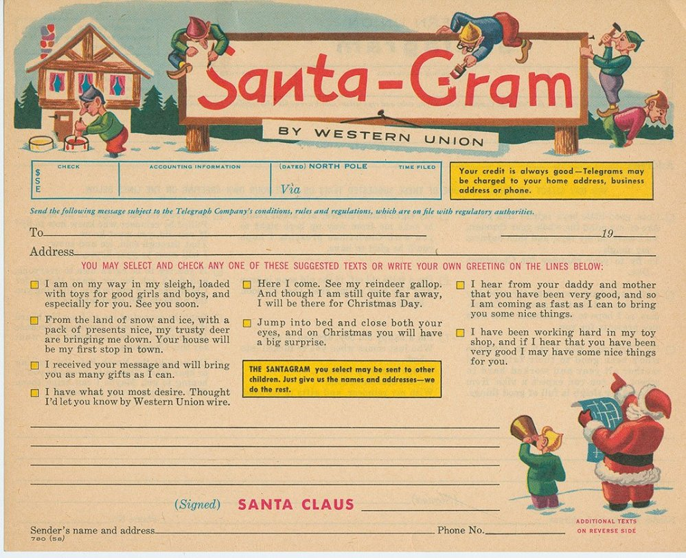 "From c. 1930, the Western Union Telegraph Company's Santa-Gram could be sent ""via the North Pole."" (NMAH Archives Center, Western Union Telegraph Co. Records) 1907 sheet music for the ""Santa Claus"" march composed by Fred Vokoun. (NMAH Archives Center, Sam DeVincent Collection of Illustrated American Sheet Museic)"