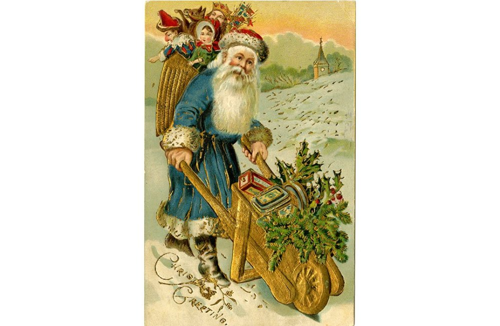 "Undated postcard entitled ""Christmas Greetings"" of a blue-robed and bearded Father Christmas. (NMAH Archives Center, Beatrice Litzinger Postcard Collection)"