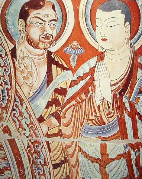 Central_Asian_Buddhist_Monks Tarim 9th century frescoes