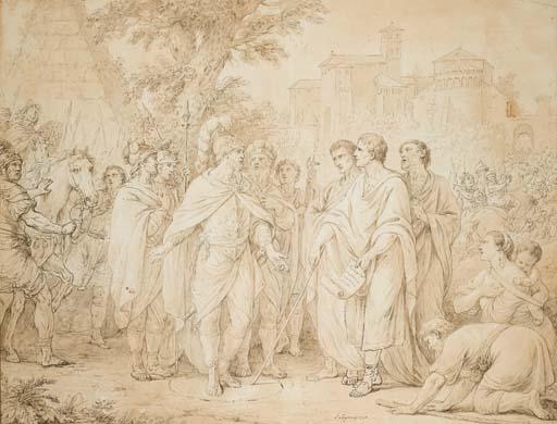 LOUIS-JEAN-FRANÇOIS LAGRENÉE (PARIS 1725-1805) LE CONSUL POPILIUS LENAS ENTOURANT D'UN CERCLE LE ROI ANTIOCHUS _christies.com