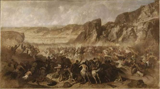 Επεισόδιο της υποχώρησης των 10.000 Ελλήνων (Ξενοφών - Ανάβασις)_ελαιογραφία σε καμβά_ Jean Adrien Guignet (1816-1854)