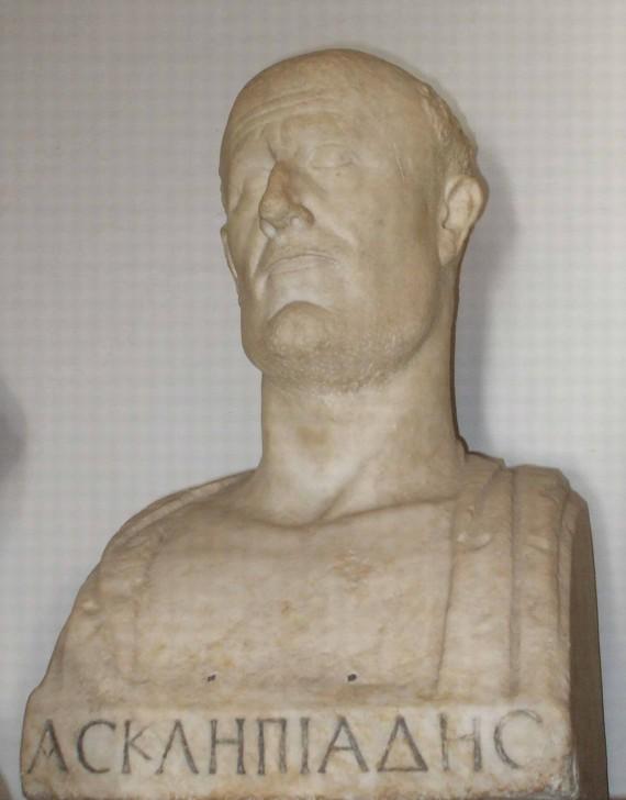 Ασκληπιάδης ο Βιθυνός (Μουσείο Καπιτωλίου, Ρώμη). Αυτή είναι η μοναδική γνωστή προτομή του, η οποία έχει τοποθετηθεί ανάμεσα σε άλλους Επικούρειους στην περίφημη «αίθουσα των φιλοσόφων».