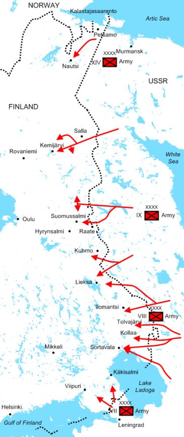 Major Soviet offensives from 30 November – 22 December 1939
