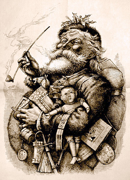 "1881 illustration by Thomas Nast who, along with Clement Clarke Moore's poem ""A Visit from St. Nicholas"", helped to create the modern image of Santa Claus _wikipedia"