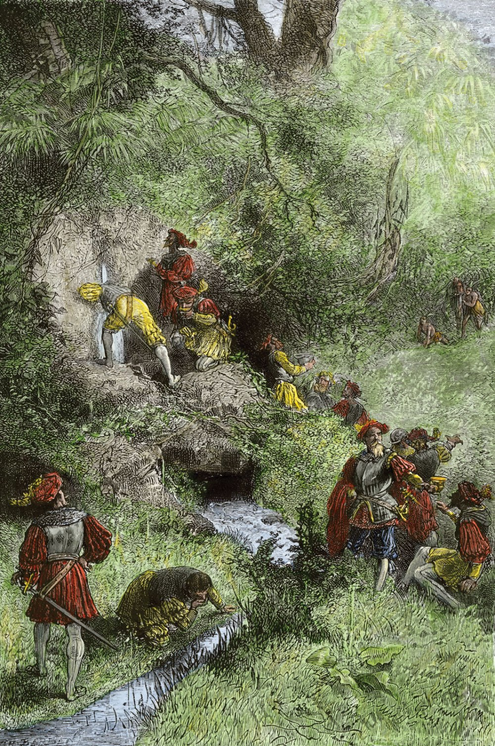 Juan Ponce de León and their explorers in Florida looking for the Fountain of youth, according to a drawing of the nineteenth century German._wikipedia