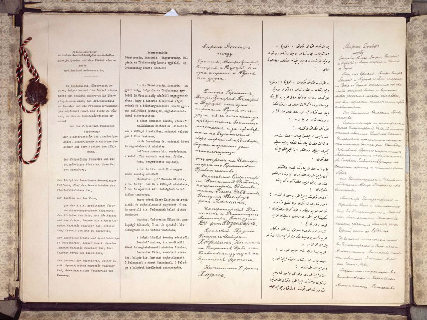 The first two pages of the Treaty of Brest-Litovsk, in (left to right) German, Hungarian, Bulgarian, Ottoman Turkish and Russian _wikipedia