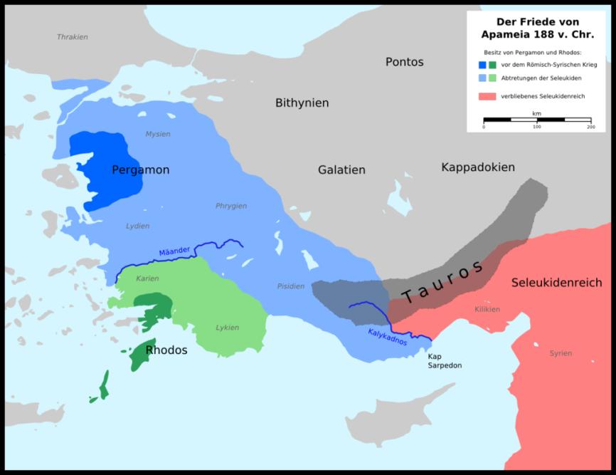 Με τη συνθήκη της Απάμειας (188 π.Χ.) οι Ρωμαίοι αναδιοργάνωσαν εδαφικά την ελληνιστική Ανατολή, αυξάνοντας θεματικά τις κτήσεις των συμμάχων τους Ροδίων και Περγαμηνών και περιορίζοντας τους αντιπάλους τους Σελευκίδες στο χώρο της Μέσης Ανατολής. _wikipedia