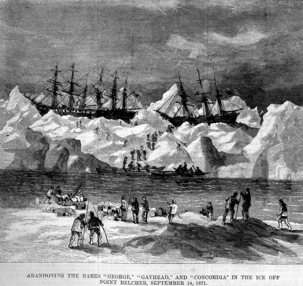 Abandonment of the whalers in the Arctic Ocean, September 1871, including the George, Gayhead, and Concordia. Scanned from the original Harper's Weekly 1871. (Credit: courtesy of Robert Schwemmer Maritime Library)