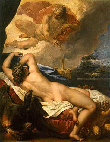 Δίας και Σεμέλη, έργο του Σεμπαστιάνο Ρίτσι, Μουσείο Ουφίτσι, Φλωρεντία.