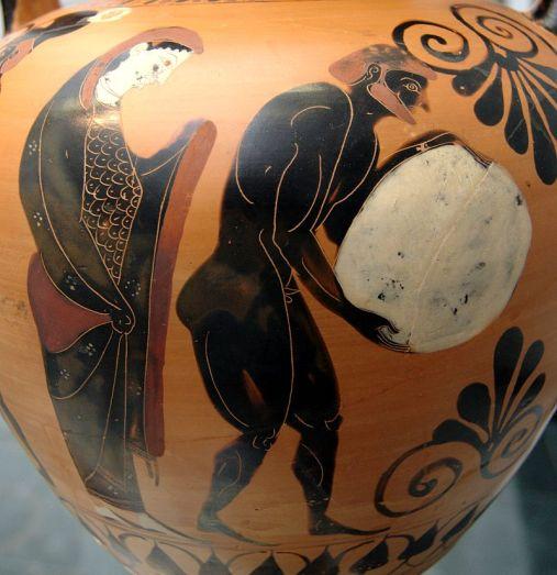 Η Περσεφόνη φυλά τον Σίσυφο στον Άδη. Μελανόμορφος Αμφορέας Αττικής, περ. 530 π.Χ