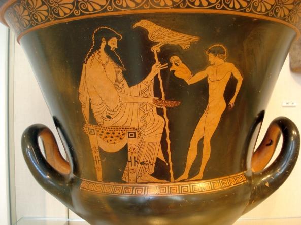 Ο Γανυμήδης σερβίρει στον Δία οίνο_Αττικός ερυθρόμορφος κάλυκας του Ευχαρίδη_ 490–480 π.Χ.