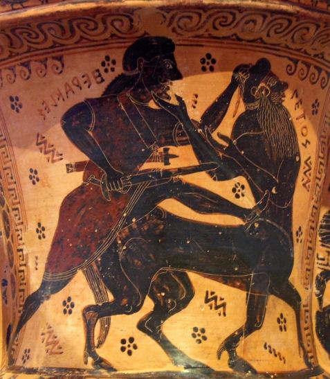 Ο Ηρακλής φονεύει τον κένταυρο Νέσσο. Mελανόμορφος αμφορέας του Ζωγράφου του Νέσσου, περ. 620-610 π.Χ.