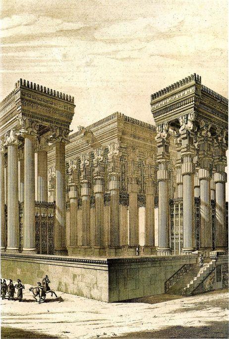 Απαντάνα (αίθουσα ακροάσεων) του Δαρείου Α΄ στα Σούσα περί το 510 π.Χ. Το απαντάνα βρισκόταν Βορείως του ανακτορικού συγκροτήματος και ήταν μεγάλη αίθουσα, την οποία περιέβαλλαν στοές. Οι κίονες των στοών ήταν 36, έφταναν τα 21 μέτρα σε ύψος και είχαν κωδωνόσχημη βάση. Το κιονόκρανο αποτελείται από δύο προτομές ταύρων. Από κάτω βρίσκεται ελικοειδές σχήμα Ιωνικής τεχνοτροπίας, ενώ από πάνω βρισκόταν στοιχείο σε σχήμα φοίνικα, Αιγυπτιακής προέλευσης.