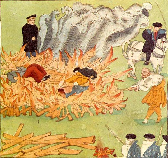 Κάψιμο τριών μαγισσών στο Μπάντεν της Ελβετίας το 1582_συλλογή Johann Jakob Wick.