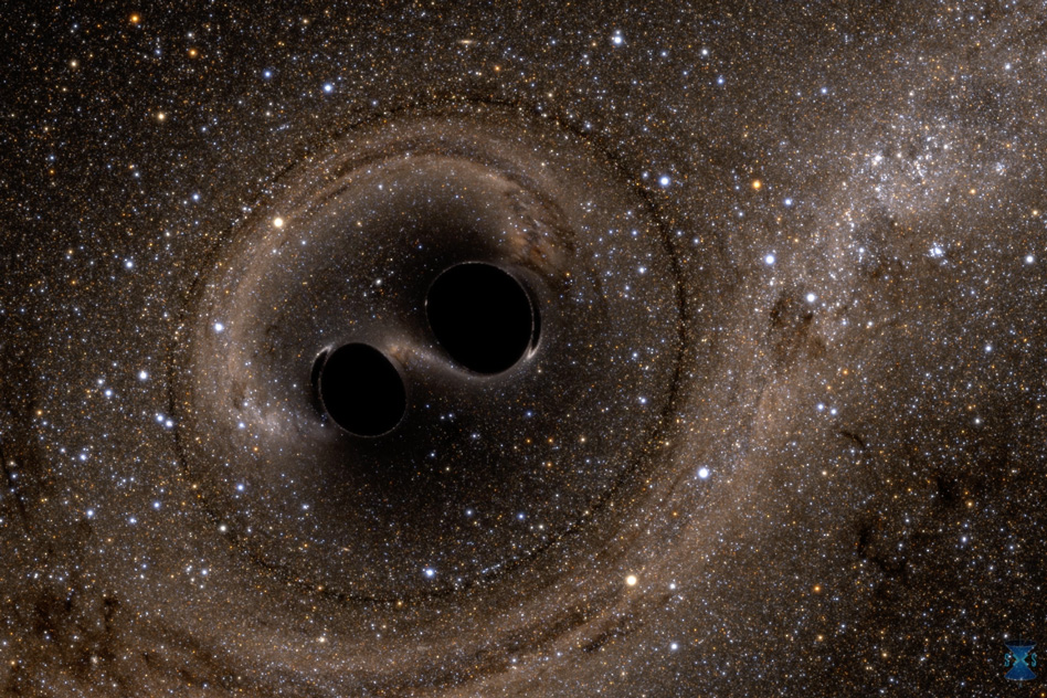 A computer simulation shows the collision of two black holes, a tremendously powerful event detected for the first time ever by the Laser Interferometer Gravitational-Wave Observatory, or LIGO. LIGO detected gravitational waves, or ripples in space and time, generated as the black holes merged. The simulation shows what the merger would look like if we could somehow get a closer look. The stars appear warped due to the strong gravity of the black holes._Image: Simulating eXtreme Spacetimes