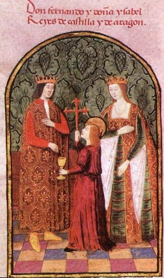 Ο Φερδινάνδος στα αριστερά με την Ισαβέλλα στα δεξιά. Η εκχάραξη άνωθεν τους προσδιορίζει ως Λόρδος Φερδινάνδος και Λαίδη Ισαβέλλα Βασιλείς της Καστίλης και της Αραγωνίας