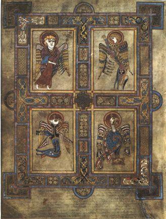 Σελίδα που περιέχει τα σύμβολα των τεσσάρων Ευαγγελιστών _δεξιόστροφα από επάνω αριστερά_ ένας άνθρωπος Ματθαίος_ ένα λιοντάρι Μάρκος_ ένας αετός Ιωάννης και ένα βόδι Λουκάς