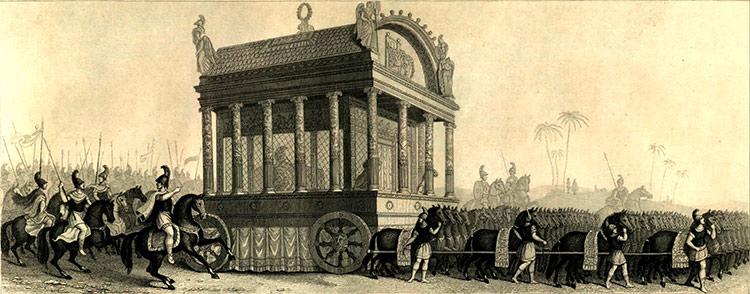 Αναπαράσταση 19ου αιώνα της ταφής του Μεγ. Αλεξάνδρου βάσει της περιγραφής του Διοδώρου_historytoday