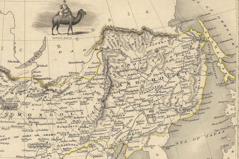 Βρετανικός χάρτης του 1851 ο οποίος δείχνει τα σύνορα Ρωσίας-Κίνας πριν την προσάρτηση. wikipedia URL [https://en.wikipedia.org/wiki/Amur_Acquisition#/media/File:John-Tallis-1851-Tibet-Mongolia-and-Manchuria-NE.jpg]
