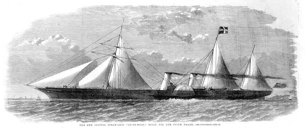 """The new clipper steam-ship ""LY-EE-MOON,"" built for the opium trade,"" Illustrated London News, ca. 1859 A quarter century after revolutionizing the drug trade, the celebrated ""opium clippers"" had begun to undergo a further revolution with the addition of coal-fueled, steam-driven paddle wheels. This illustration appeared in the Illustrated London News in 1859, two decades after the first Opium War began. [1800s_LyEeMoonILN_Britannca] URL [http://ocw.mit.edu/ans7870/21f/21f.027/opium_wars_01/ow1_essay01.html]"