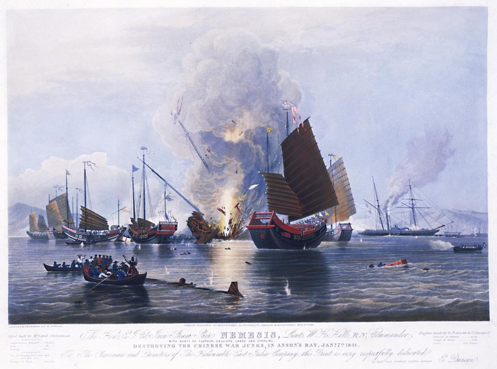 """NEMESIS Destroying the Chinese War Junks in Anson's Bay, Jan 7th 1841"" This famous print of the Second Battle of Chuanbi by E. Duncan, dated May 30, 1843, records the first battle appearance of the revolutionary iron steamer Nemesis. National Maritime Museum [1841_0792_nemesis_jm_nmm] URL [http://ocw.mit.edu/ans7870/21f/21f.027/opium_wars_01/ow1_essay03.html]"