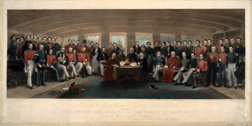 """The Signing and Sealing of the Treaty of Nanking in the State Cabin of H. M. S. Cornwallis, 29th August, 1842"" (detail) Painted by Capt. John Platt This famous 1846 engraving commemorates the signing of the first of the unequal treaties in August 1842. In the West, this was widely heralded as a triumph of commerce, international law, and ""civilization."" Anne S. K. Brown Military Collection, Brown University Library [1846_TreatyNanking_Brown]"