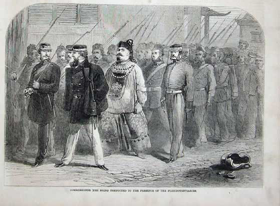 The capture of Ye Mingchen after the fall of Canton wikipedia URL [https://en.wikipedia.org/wiki/Second_Opium_War#/media/File:1858,_Canton_Commissioner_Yeh_Men.jpg]