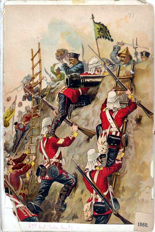 British troops taking fort in 1860 wikipedia URL [https://en.wikipedia.org/wiki/Second_Opium_War#/media/File:67th_Foot_taking_fort.jpg]
