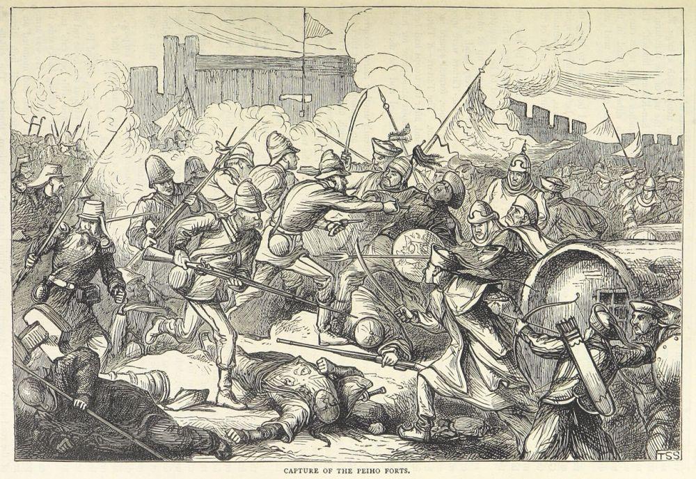 Απεικόνιση της μάχης στα οχυρά της περιοχής Taku το 1860. wikipedia URL [https://en.wikipedia.org/wiki/Opium_Wars#/media/File:Capture_of_the_Peiho_Forts.jpg]