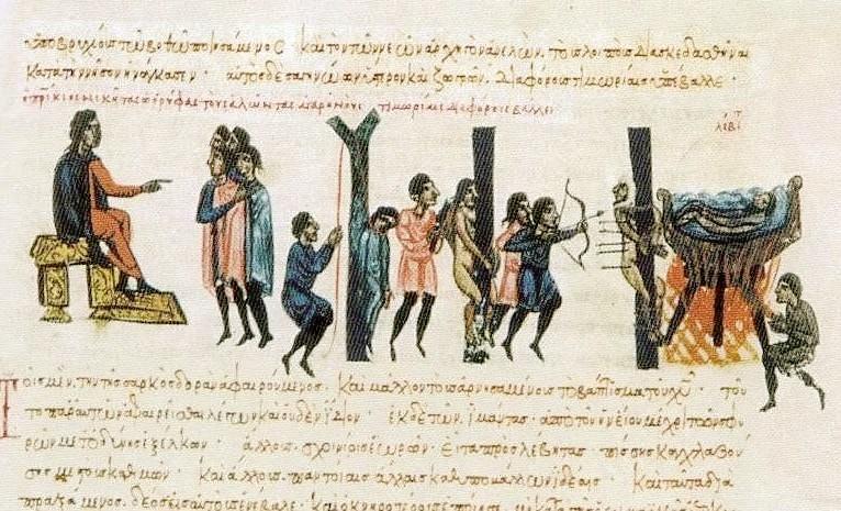 Ο ΝΙκήτας Ωορύφας τιμωρεί τους Κρήτες Σαρακηνούς_χειρόγραφο Σκυλίτζη_wikipedia