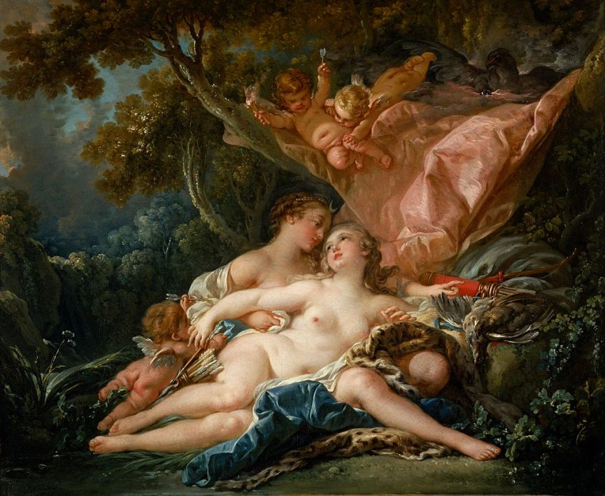 Δίας και Καλλιστώ by François Boucher, Zeus/Jupiter takes the form of Artemis/Diana (Nelson-Atkins Museum of Art, Kansas City) wikipedia URL [https://en.wikipedia.org/wiki/Callisto_(mythology)]
