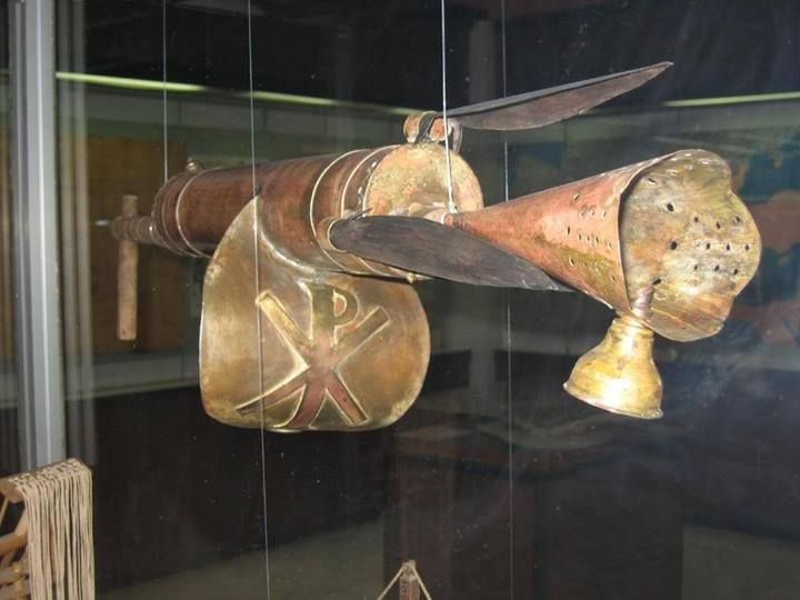 Modern reconstruction of the Cheirosiphon, or hand-held Greek-fire syphon. Found in the War Museum, Athens
