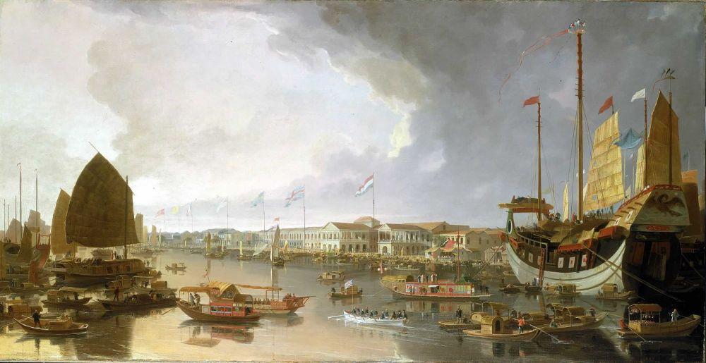 Απεικόνιση των Ευρωπαϊκών εργοστασίων στην Canton. wikipedia URL [https://en.wikipedia.org/wiki/First_Opium_War#/media/File:View_of_Canton_factories_2.jpg]