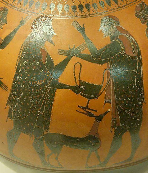 Ο Ικάριος υποδέχεται τον Διόνυσο. Μελανόμορφος αμφορέας του Ζωγράφου Affecter, περίπου 540-520 π.Χ. Λονδίνο, Βρετανικό Μουσείο, 1836,0224.46 / B153 © The Trustees of the British Museum Μορφές και Θέματα της Αρχαίας Ελληνικής Μυθολογίας της Δήμητρας Μήττα Ψηφίδες για την Ελληνική Γλώσσα URL [http://www.greek-language.gr/digitalResources/ancient_greek/mythology/lexicon/metamorfoseis/page_098.html]