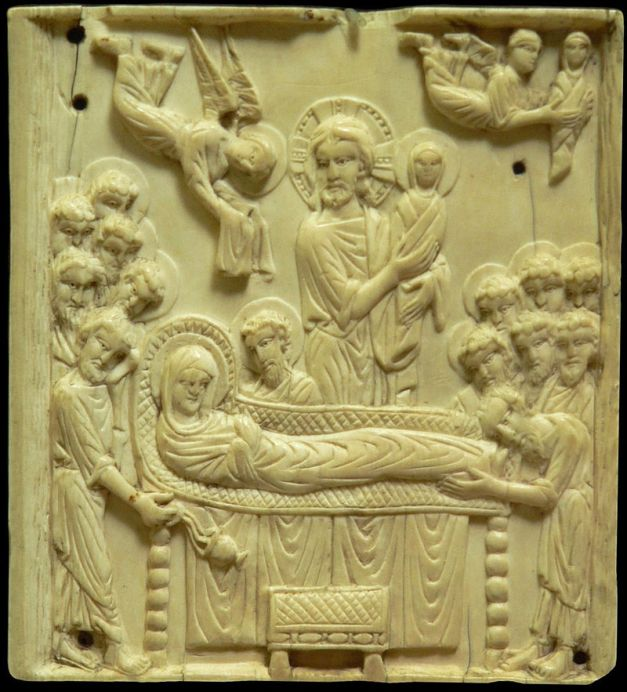 Η Κοίμηση της Θεοτόκου The Dormition: ivory plaque, late 10th to early 11th century (Musée de Cluny). Wikipedia URL [https://en.wikipedia.org/wiki/Dormition_of_the_Mother_of_God#/media/File:Dormition_de_la_Vierge.JPG]