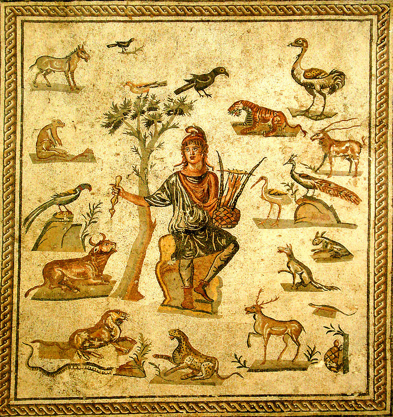 Ο Ορφέας γαληνεύει τα θηρία Orpheus surrounded by animals. Ancient Roman floor mosaic, from Palermo, now in the Museo archeologico regionale di Palermo. Picture by Giovanni Dall'Orto Wikipedia URL [https://en.wikipedia.org/wiki/Orpheus]