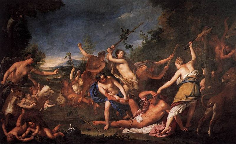 Ορφέας και Βακχίδες Orpheus and the Bacchantes Wikipedia URL [https://commons.wikimedia.org/wiki/File:Gregorio_Lazzarini_-_Orpheus_and_the_Bacchantes_-_WGA12527.jpg]