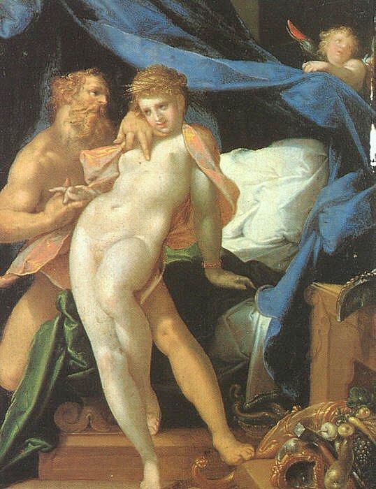Βούλκαν (θεότητα της Ρωμαϊκής Μυθολογίας η οποία αντιστοιχεί στον Ηφαιστο της Ελληνικής) και Μαία Bartholomeus Spranger - Vulcan and Maia - WGA21695 Wikipedia URL [https://commons.wikimedia.org/wiki/Category:Maia_(mythology)]