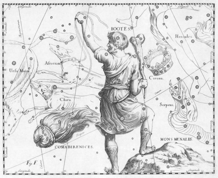 Στην απεικόνιση του Hevelius, Uranographic, το όρος Μαίναλον γίνεται καλύτερα αντιληπτό. wikipedia URL [https://en.wikipedia.org/wiki/Mons_Maenalus#/media/File:Bootes.jpg]