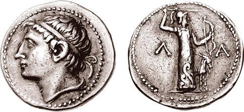 Αργυρό τετράδραχμο απεικονίζον τον Κλεομένη_στην οπίσθια πλευρά απεικονίζεται η Άρτεμις Ορθεία_www.cngcoins.com.