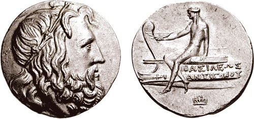 Δύο όψεις νομίσματος του Αντιγόνου Γ΄.
