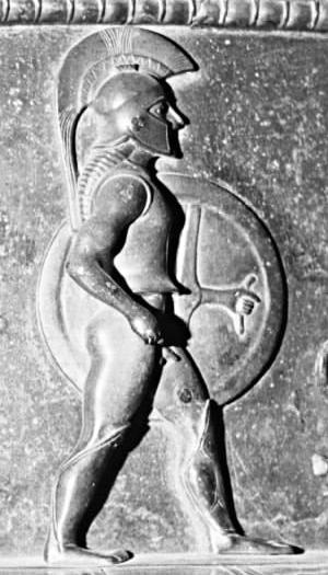Οπλίτη, λεπτομέρεια του Vix Κρατήρας. Σφυρήλατο φύλλο χάλκινο, Λακωνικό επιρροή, ca. 510 π.Χ. Από το θησαυρό Vix, τώρα σε Châtillon-sur-Seine.