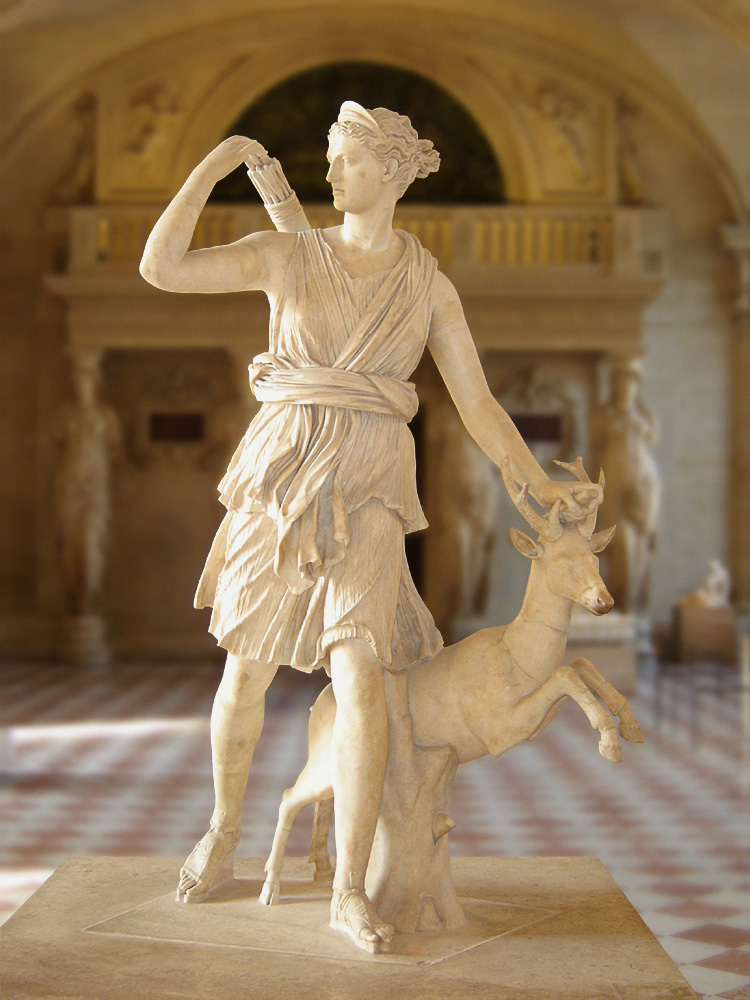 Ντιάνα των Βερσαλλιών The Diana of Versailles, a 2nd-century Roman version in the Greek tradition of iconography (Louvre Museum, Paris). Wikipedia URL [https://en.wikipedia.org/wiki/Diana_(mythology)]