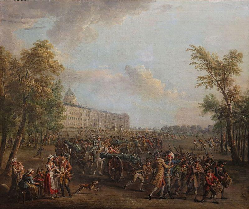 Λεηλασίες του στρατού στη λεωφόρο των αναπήρων το πρωινό της 14ης Ιουλίου 1789 Pillage des armes aux Invalides, le matin du 14 juillet 1789, huile sur toile, Musée Carnavalet, 1789/1790 Wikipedia URL [https://fr.wikipedia.org/wiki/H%C3%B4tel_des_Invalides#/media/File:Jean-Baptiste_Lallemand_-_Pillage_des_armes_aux_Invalides,_le_matin_du_14_juillet_1789.jpg]