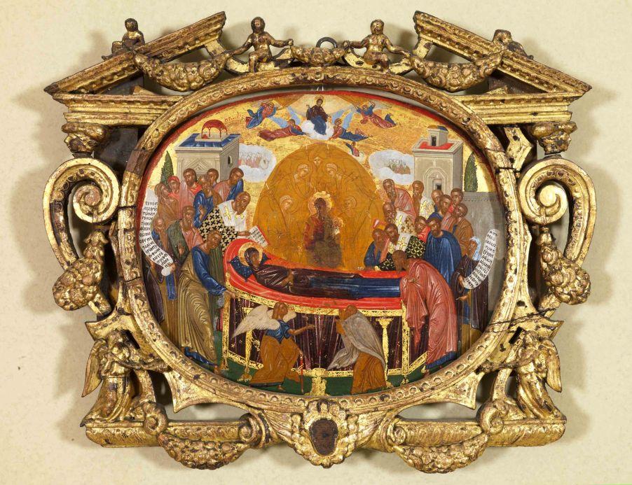 Η Κοίμηση της Παναγίας γύρω στο 1600, 37,5x32,2εκ. άγνωστος ζωγράφος από την Κρήτη URL [http://3dim-megar.att.sch.gr/index.php/component/content/article/66-start/1025-panagia]