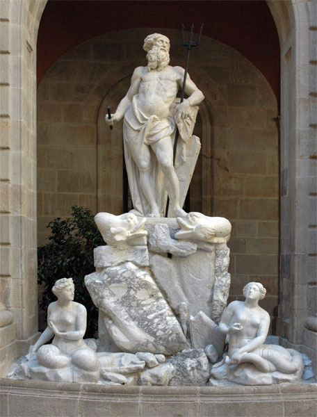 Νεπτούνος Neptune (1802), by Catalan sculptor Nicolau Travé, together with two nereids by Antoni Solà. Barcelona: Llotja de Mar. Wikipedia URL [https://en.wikipedia.org/wiki/Neptune_(mythology)]