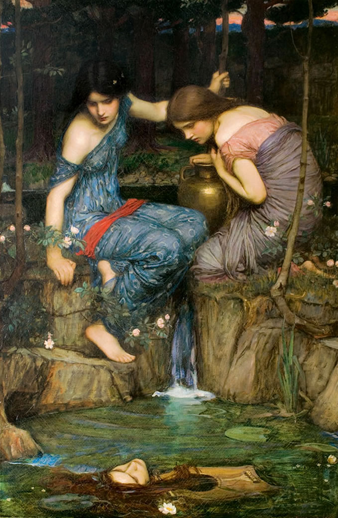 Νύμφες βρίσκουν το κεφάλι του Ορφέα Nymphs Finding the Head of Orpheus by John William Waterhouse Wikipedia URL [https://en.wikipedia.org/wiki/Orpheus#/media/File:Nymphs_finding_the_Head_of_Orpheus.jpg]