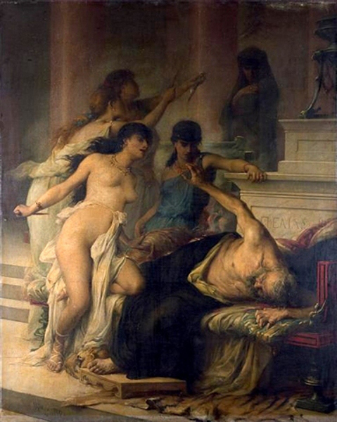 Ο φόνος του Πελία από τις κόρες του The Murder of Pelias by His Daughters (1878) wikipedia URL [https://commons.wikimedia.org/wiki/Category:Pelias#/media/File:Pelias-Moreau.jpg]