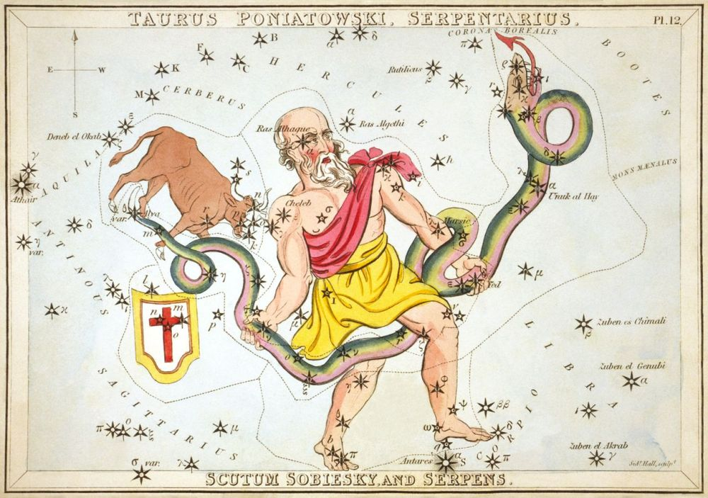 Ο Όφις στα χέρια του Οφιούχου as depicted in Urania's Mirror, a set of constellation cards published in London c. 1825. Above the tail of the serpent is the now-obsolete constellation Taurus Poniatovii while below it is Sputum wikipedia URL [https://en.wikipedia.org/wiki/Serpens]