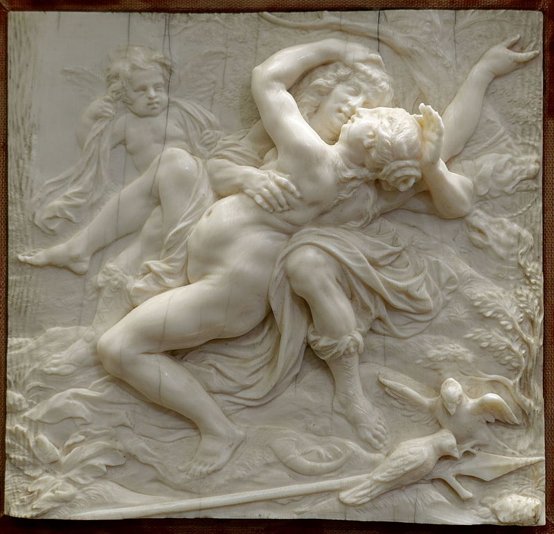 Η Αφροδίτη στην αγκαλιά του Άδωνη Venus in the Arms of Adonis, by Joachim Henne, c. 1670-1680, ivory - Bode-Museum - Wikipedia URL [https://commons.wikimedia.org/wiki/Category:Venus_and_Adonis]